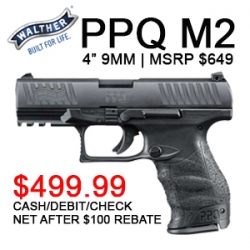 $100 CASH BACK ON WALTHER PPQ/PPS